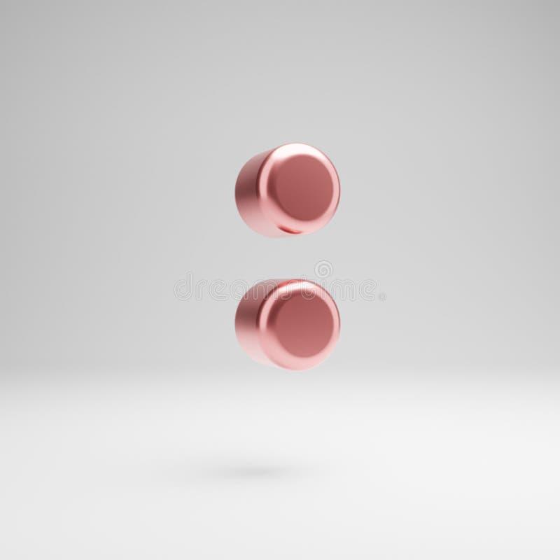 Объемный лоснистый розовый символ двоеточия золота изолированный на белой предпосылке бесплатная иллюстрация