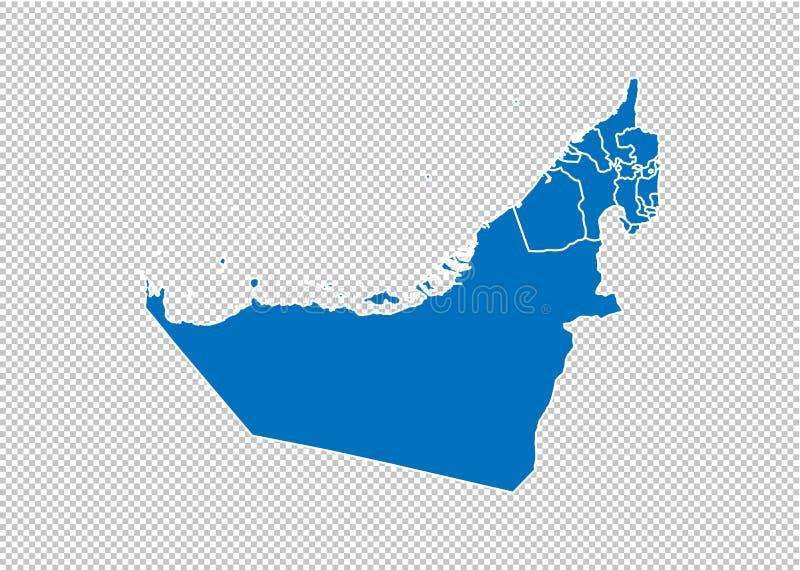 Объениненные Арабские Эмираты составляют карту - карта максимума детальная голубая с графствами/регионами/государствами Объенинен иллюстрация вектора