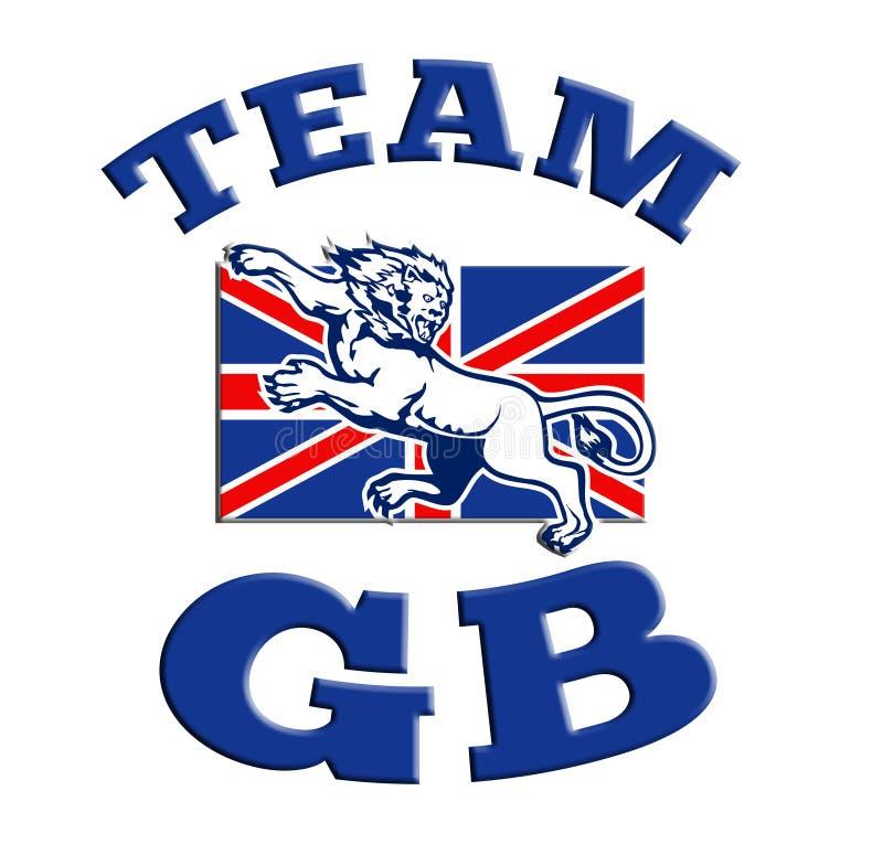 Объениняйтесь в команду львев GB атакуя флаг Юниона Джек GB великобританский иллюстрация вектора