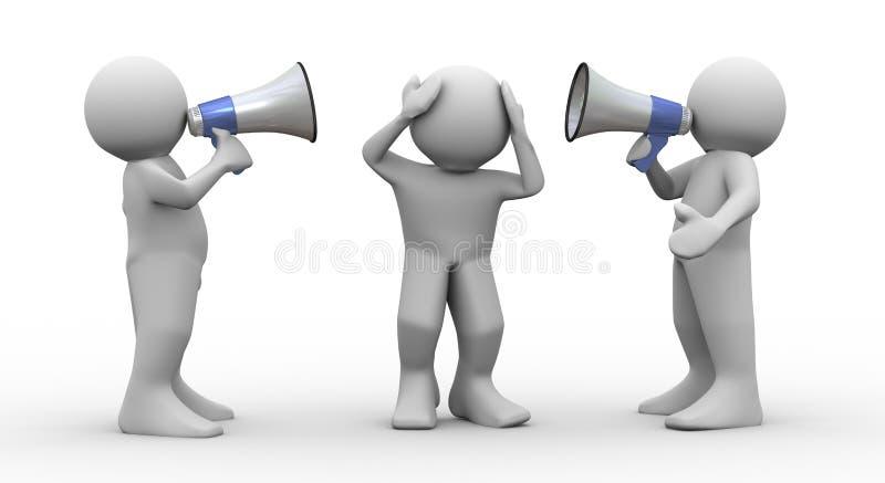 объявление мегафона людей 3d иллюстрация штока