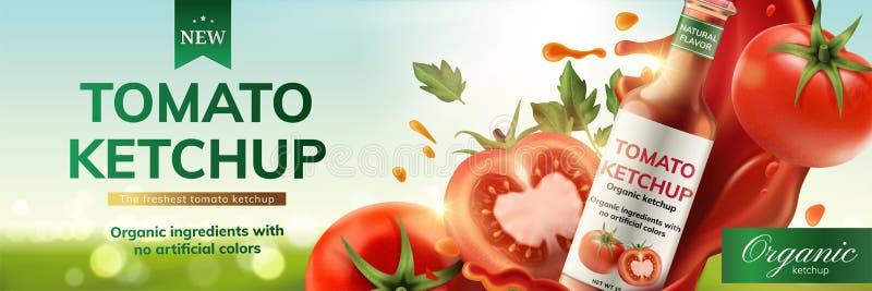 Объявления кетчуп томата иллюстрация вектора