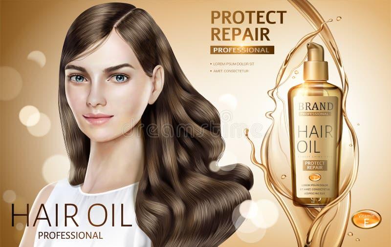 Объявления масла волос иллюстрация штока