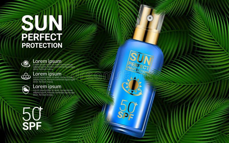 Объявления продукта косметик предохранения от Солнця брызга солнцезащитного крема Шаблон дизайна модель-макета Sunblock 3D реалис бесплатная иллюстрация