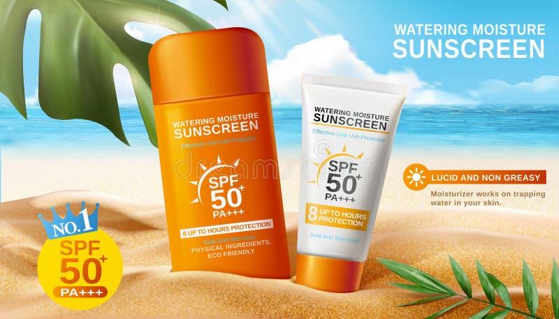 Объявления солнцезащитного крема на красивом пляже бесплатная иллюстрация