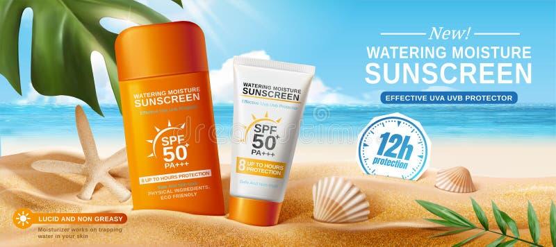 Объявления солнцезащитного крема на красивом пляже иллюстрация вектора