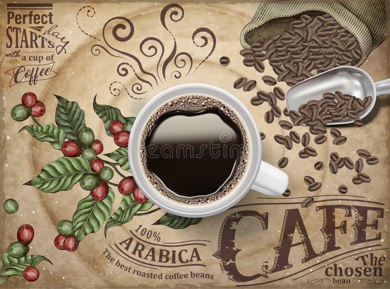 Объявления черного кофе иллюстрация вектора