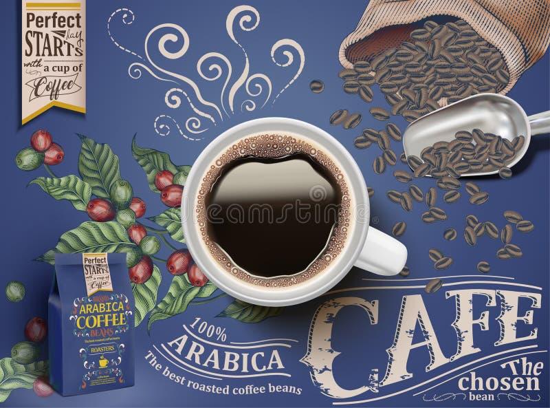 Объявления черного кофе иллюстрация штока