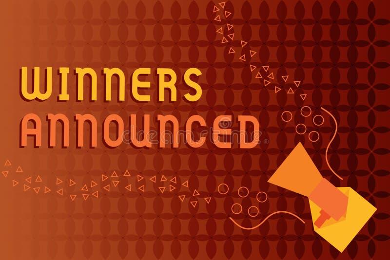 Объявленные победители сочинительства текста почерка Смысл концепции объявляя кто выиграло состязание или любую конкуренцию иллюстрация штока