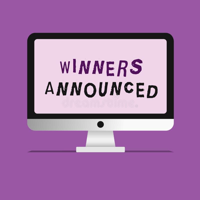 Объявленные победители сочинительства текста почерка Смысл концепции объявляя кто выиграло состязание или любую конкуренцию бесплатная иллюстрация