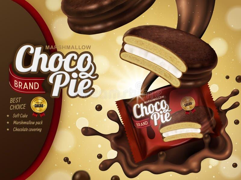 Объявление пирога шоколада зефира иллюстрация вектора