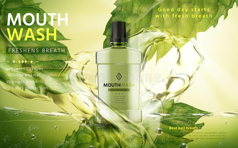 Объявление продукта Mouthwash иллюстрация штока