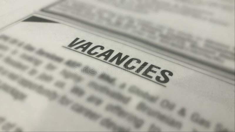 Объявления вакансий на газете с запачканный окружать стоковая фотография rf