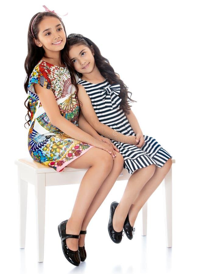 Объятие близнецов девушек стоковое изображение rf