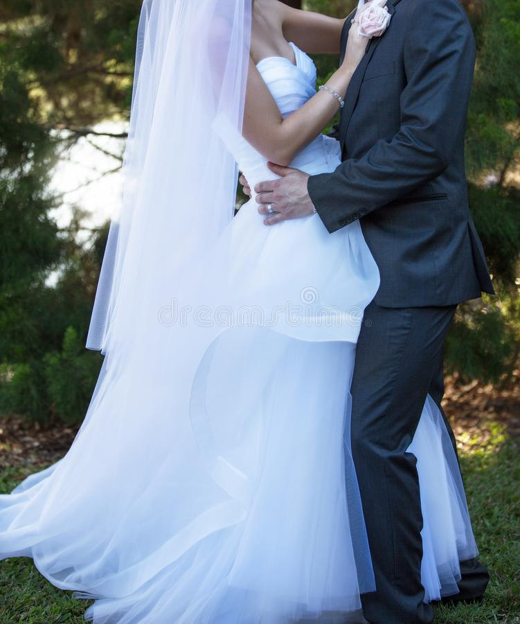 Объятие жениха и невеста в саде стоковое фото rf