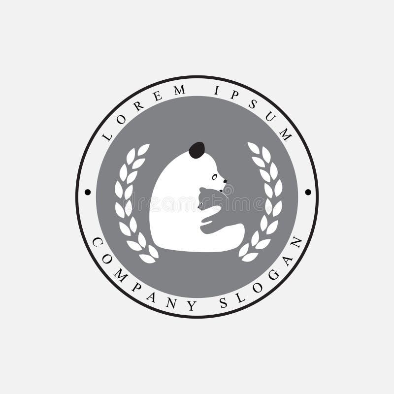 Объятие панды младенца ее логотип матери иллюстрация вектора