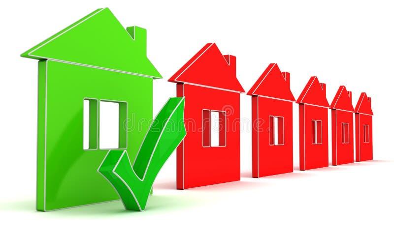 Обычные дома и дом энергии эффективный иллюстрация вектора