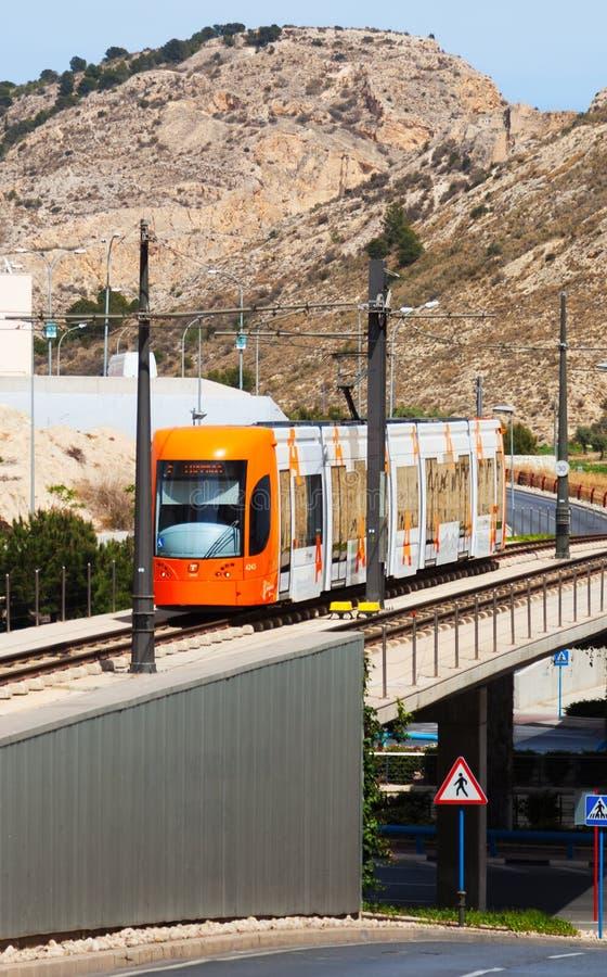 Обычный трамвай в Аликанте, Испании стоковое фото