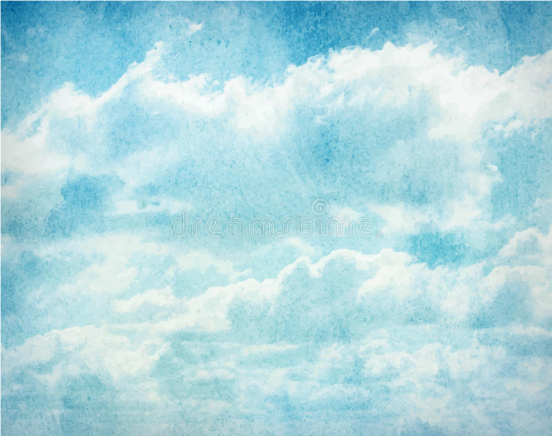 Облака акварели и предпосылка неба иллюстрация штока