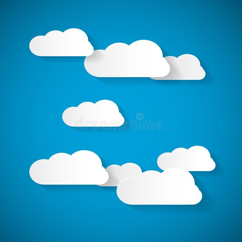 Облака вектора отрезанные от бумаги на голубом небе иллюстрация штока