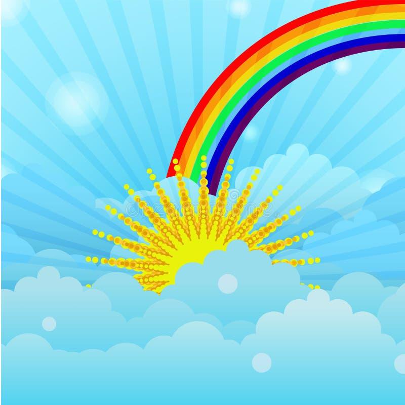 Облака в небе с солнцем иллюстрация вектора