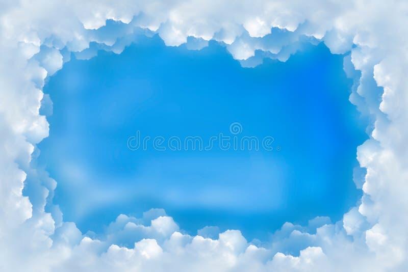 Облака голубого неба границы рамки иллюстрация вектора