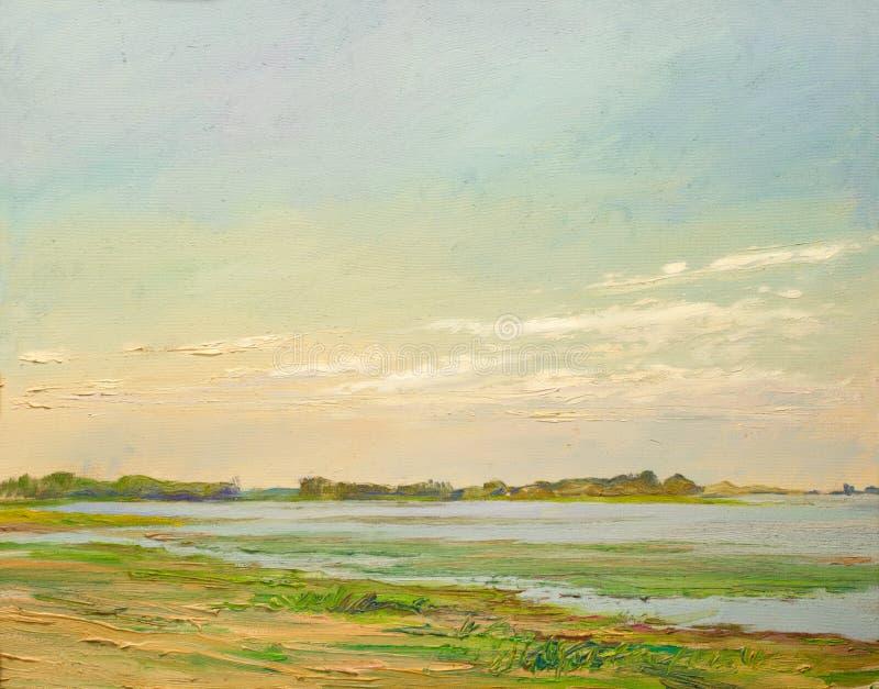Облака загоренные по солнцу над рекой в степи, крася маслом на холсте стоковые фото