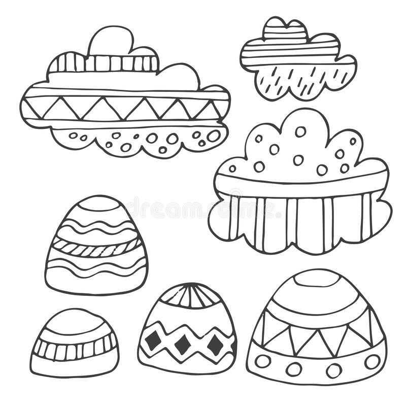Облака зимы и комплект утесов нарисованный рукой бесплатная иллюстрация