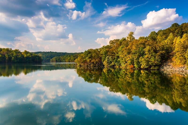 Облака и деревья отражая в резервуаре Prettyboy, Балтиморе Co стоковое изображение rf