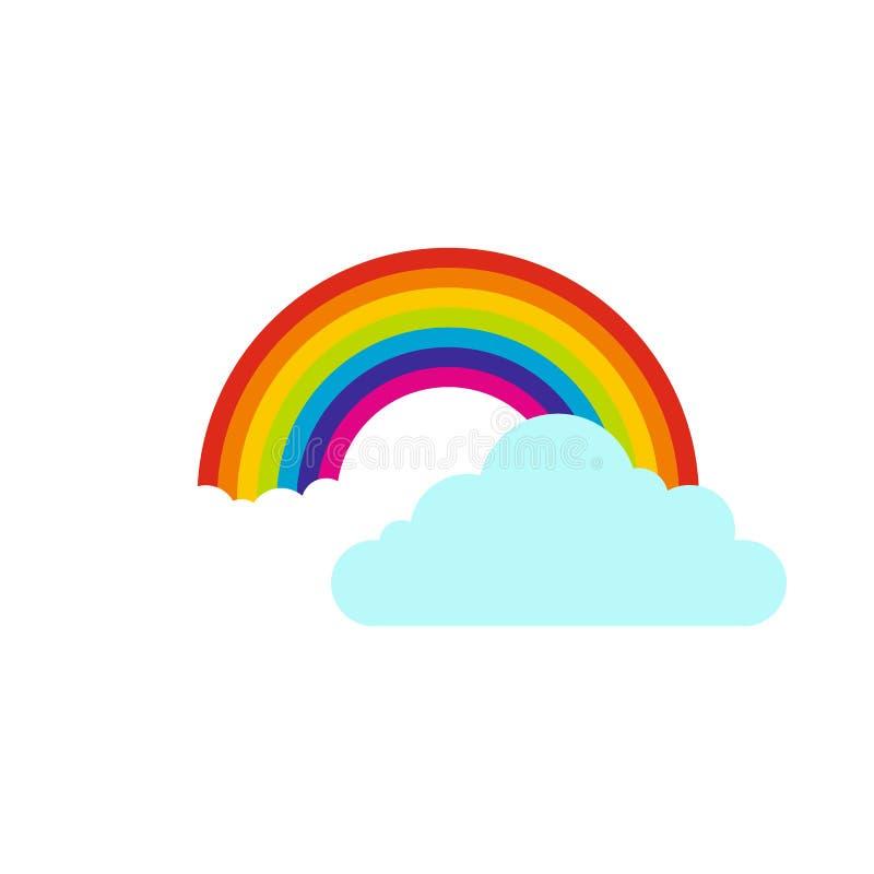 Облака и значок радуги, плоский стиль бесплатная иллюстрация
