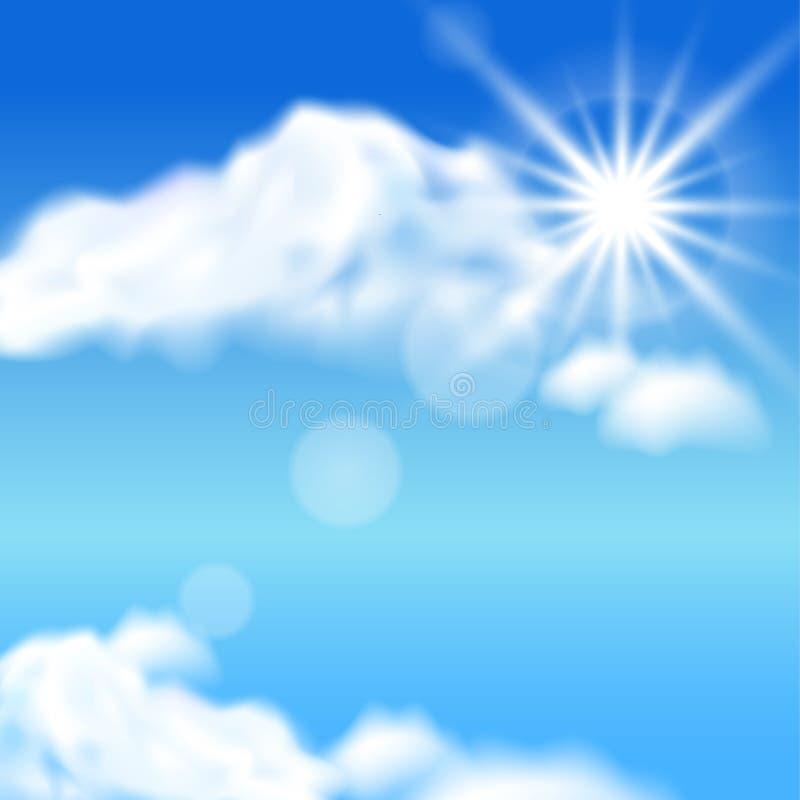 Облака и солнце иллюстрация вектора