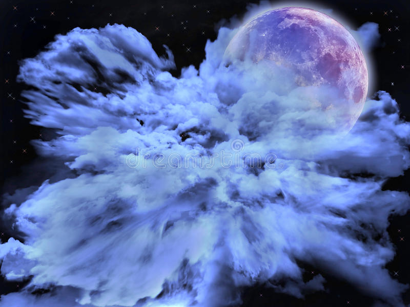 Облака и луна иллюстрация штока