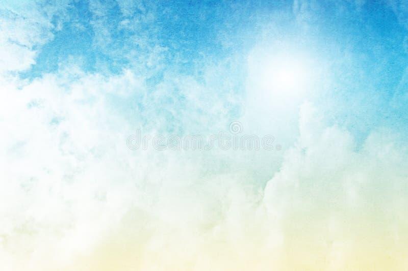Облака на желтом цвете к голубой предпосылке градиента бесплатная иллюстрация
