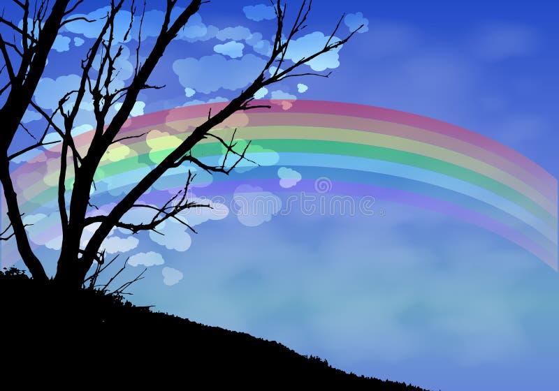 Облака ночи силуэта деревьев и радуга бесплатная иллюстрация