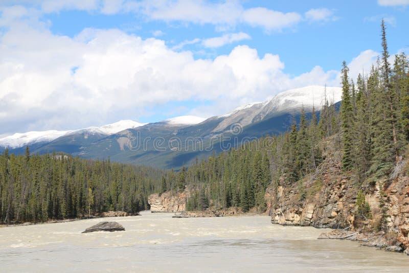 Облака реки Athabasca стоковое изображение