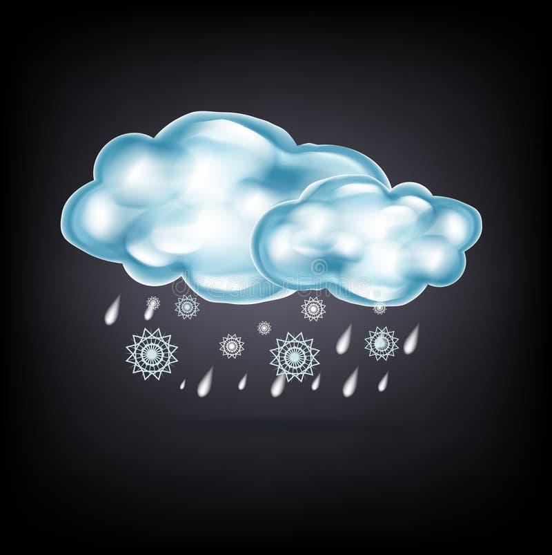 Облака с дождем и снегом на темноте бесплатная иллюстрация