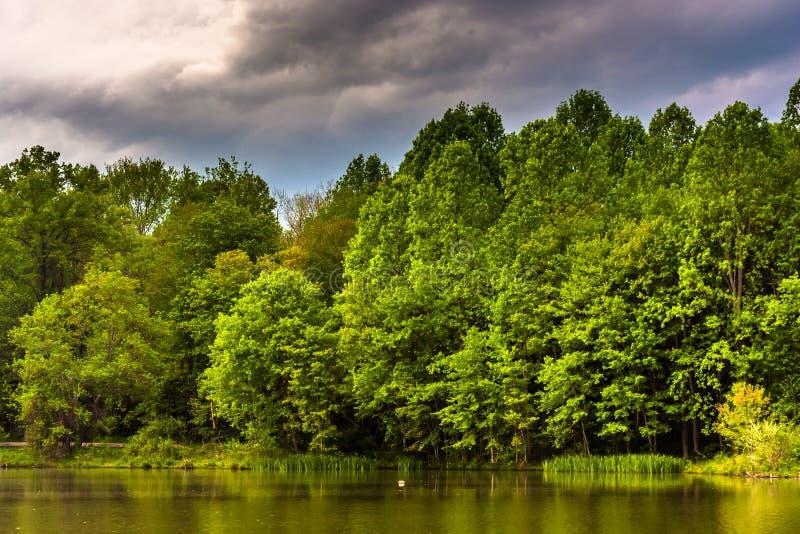 Облака шторма над Centennial озером, на Centennial парке в Columbi стоковая фотография