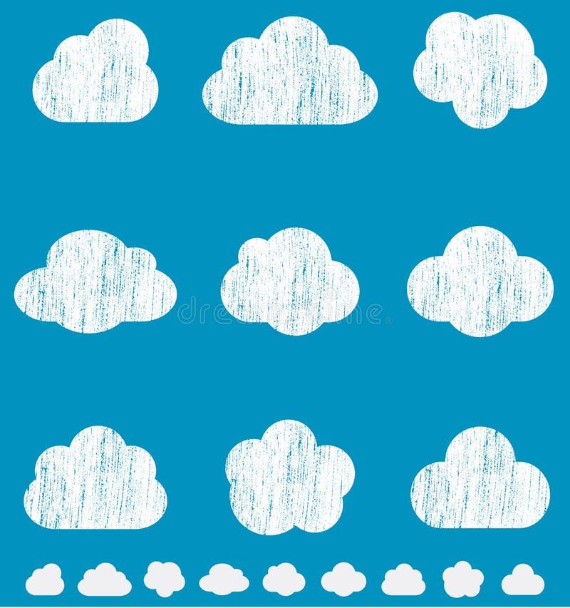 Облака Crayon иллюстрация вектора