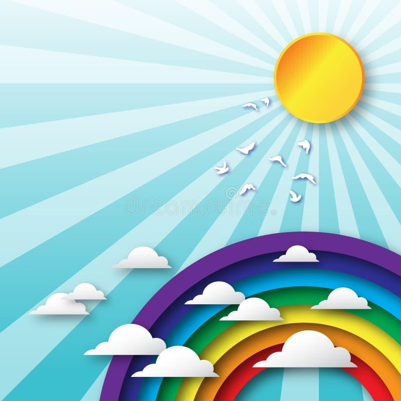 Облака Origami летают к небу и красочным радуге, солнцу и птицам иллюстрация штока