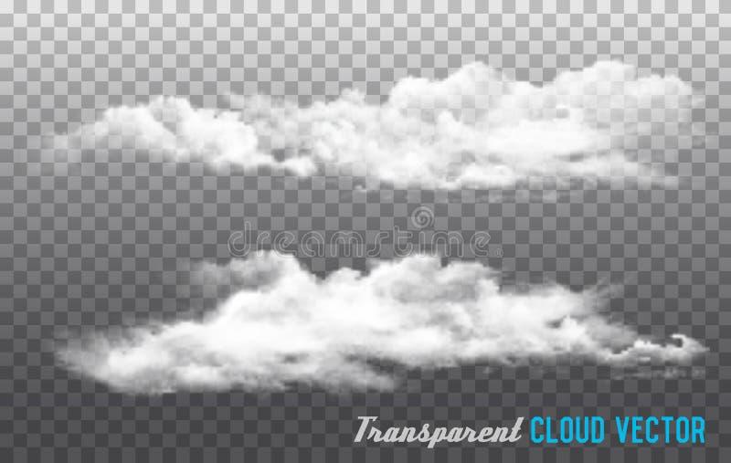 Облака vector на прозрачной предпосылке иллюстрация штока