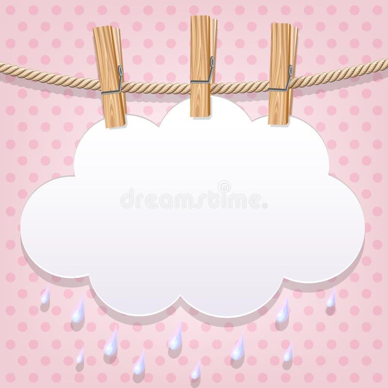 Облако белой бумаги на веревке для белья иллюстрация штока