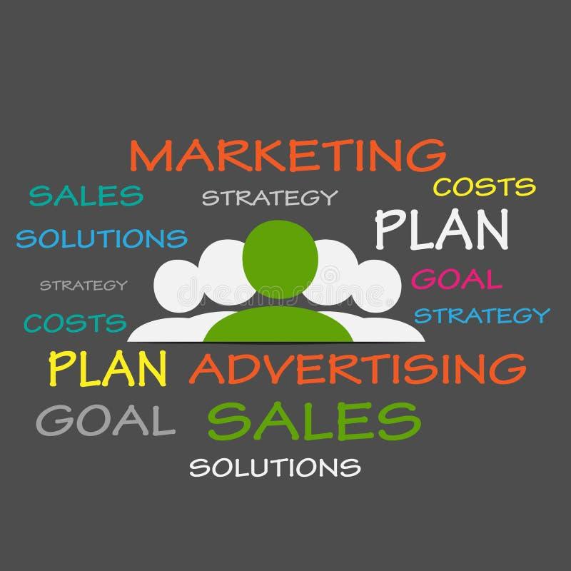 Облако бирки маркетинговых стратегий иллюстрация вектора