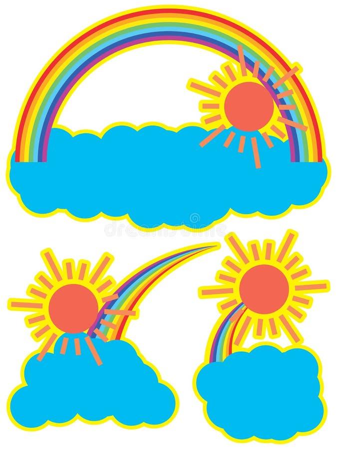 Облако солнца радуги иллюстрация штока