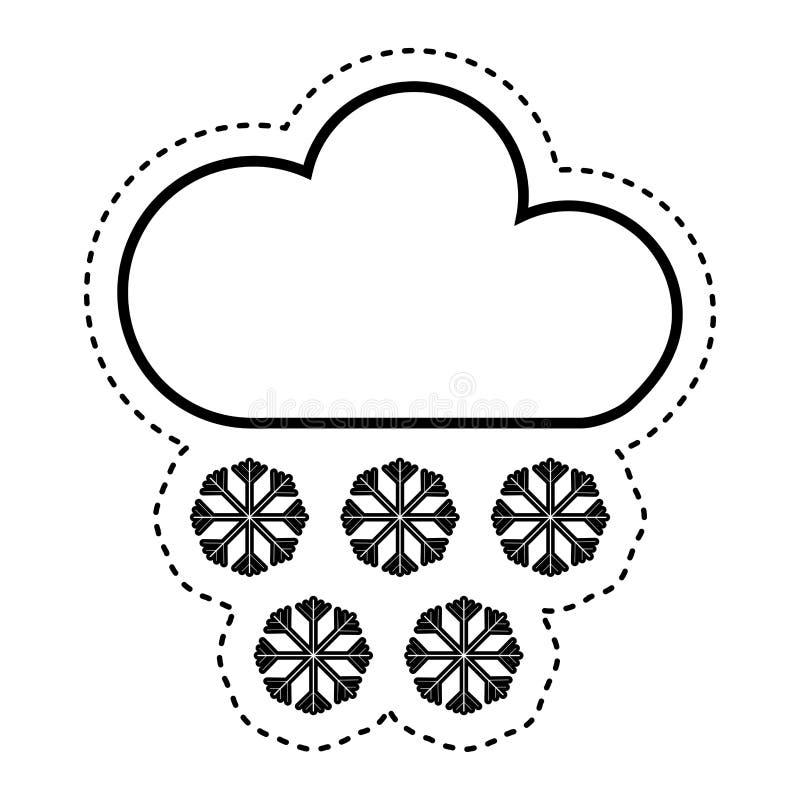 облако с значком климата снежинок изолированным знаком иллюстрация штока