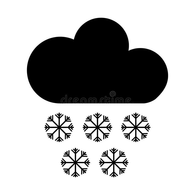 облако с значком климата снежинок изолированным знаком иллюстрация вектора