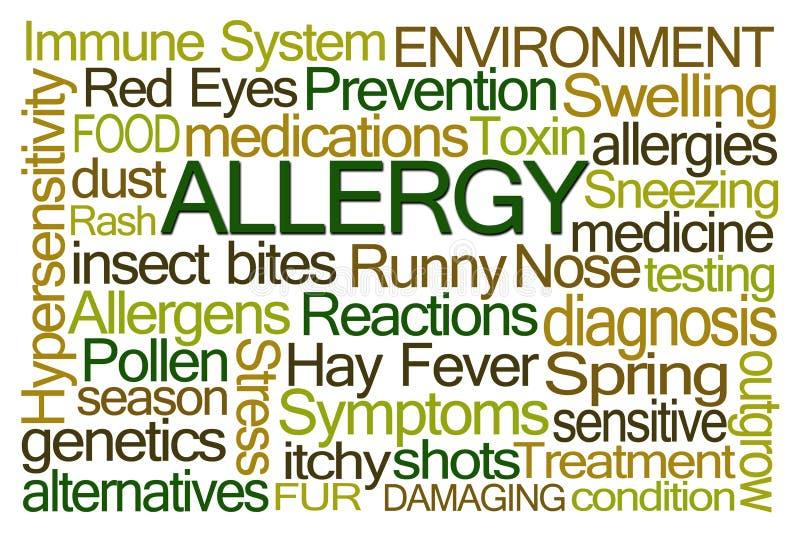 Облако слова аллергии иллюстрация штока