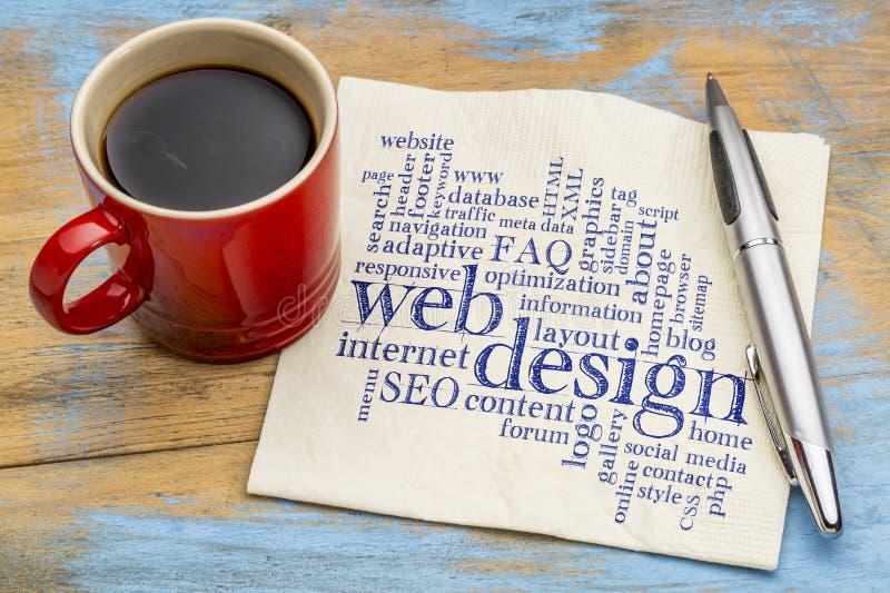 Облако слова веб-дизайна на салфетке стоковые изображения rf