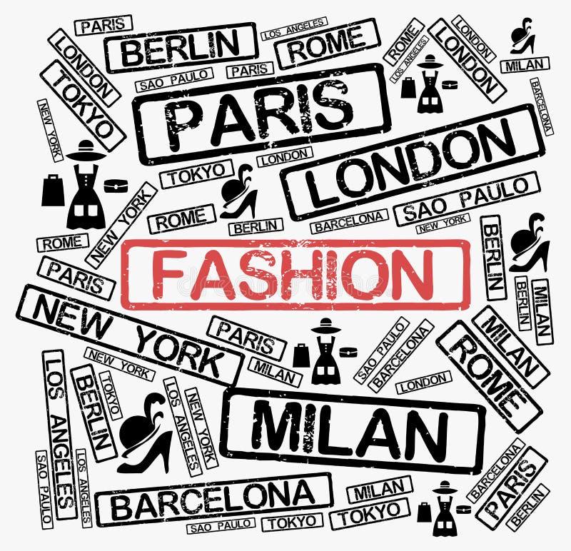 Облако слова городов моды иллюстрация вектора