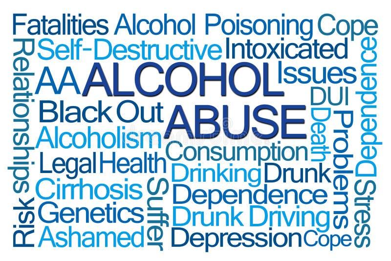 Облако слова злоупотребления алкоголем иллюстрация штока