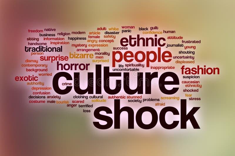 Облако слова культурного шока с абстрактной предпосылкой иллюстрация вектора