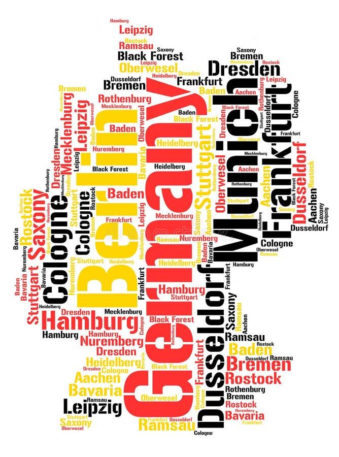 Облако слова назначений перемещения верхней части Германии бесплатная иллюстрация